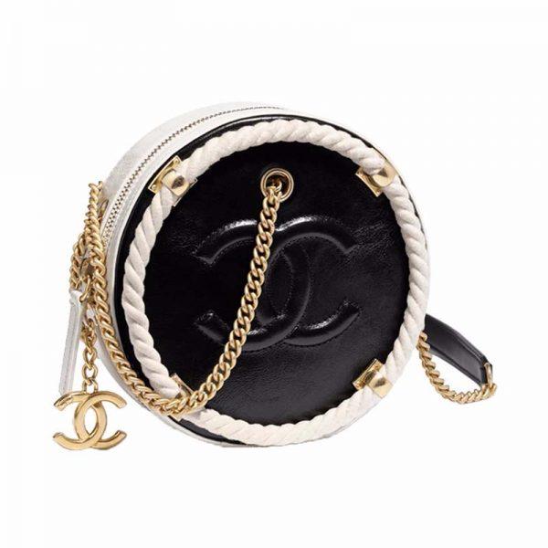 Chanel Women Black Wrinkled Calf Leather & Gold Metal Cross Body Bag
