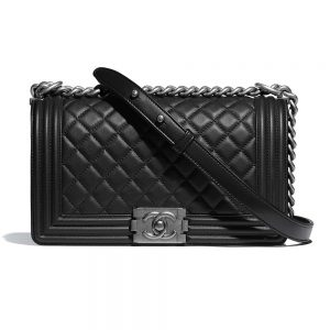 Chanel Women Boy Chanel Handbag in Calfskin Leather-Black