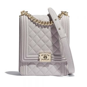 Chanel Women Boy Chanel Handbag in Grained Calfskin Leather-Beige