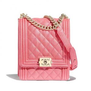 Chanel Women Boy Chanel Handbag in Grained Calfskin Leather