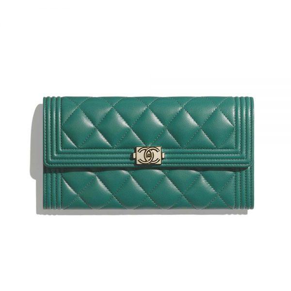 Chanel Women Boy Chanel Long Flap Wallet in Lambskin Leather-Green