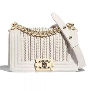 Chanel Women Boy Shoulder Chain Flap Bag in Embroidered Calf Leather-White