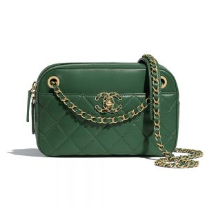 Chanel Women Camera Case in Lambsk in Leather-Green