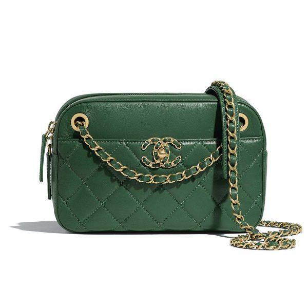 Chanel Women Camera Case in Lambsk in Leather-Green