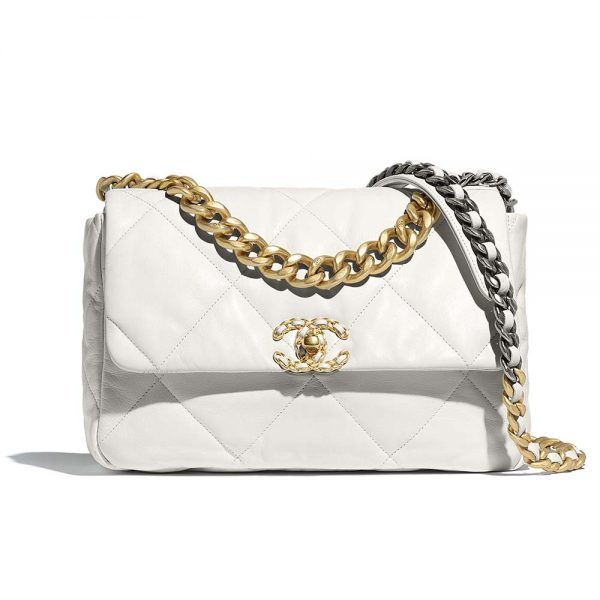 Chanel Women Chanel 19 Large Flap Bag in Goatskin Leather