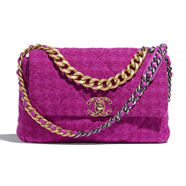Chanel Women Chanel 19 Large Flap Bag in Wool Tweed Fabrics-Pink