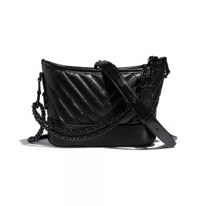 Chanel Women Chanel's Gabrielle Small Hobo Bag in Aged and Smooth Calfskin-Black