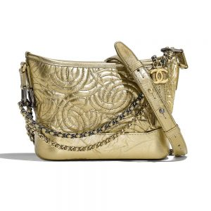Chanel Women Chanel's Gabrielle Small Hobo Bag in Calfskin Leather-Gold