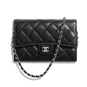 Chanel Women Classic Clutch with Chain in Lambskin Leather-Black