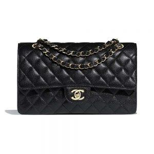 Chanel Women Classic Handbag in Grained Calfskin Leather-Black
