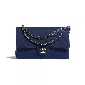 Chanel Women Classic Handbag in Jersey & Gold-Tone Metal