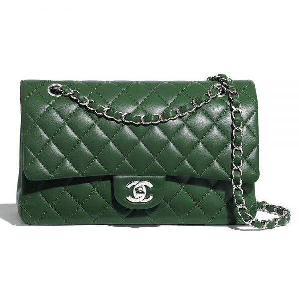 Chanel Women Classic Handbag in Lambskin Leather-Green