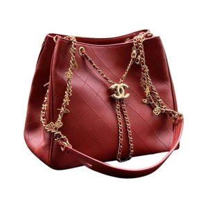 Chanel Women Drawstring Bag in Calfskin Leather-Maroon