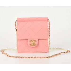 Chanel Women Flap Bag Ringer Pearl in Goatskin Leather-Pink