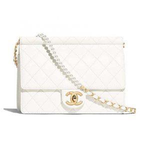 Chanel Women Flap Bag White Ringer Pearl in Goatskin Leather