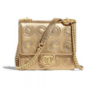 Chanel Women Flap Bag in Gold Metallic Calfskin Leather