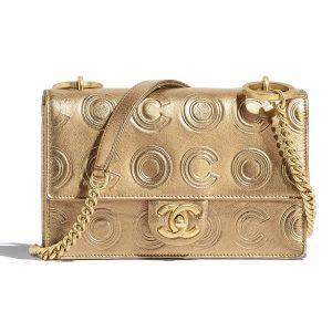 Chanel Women Flap Bag in Metallic Calfskin Leather-Gold