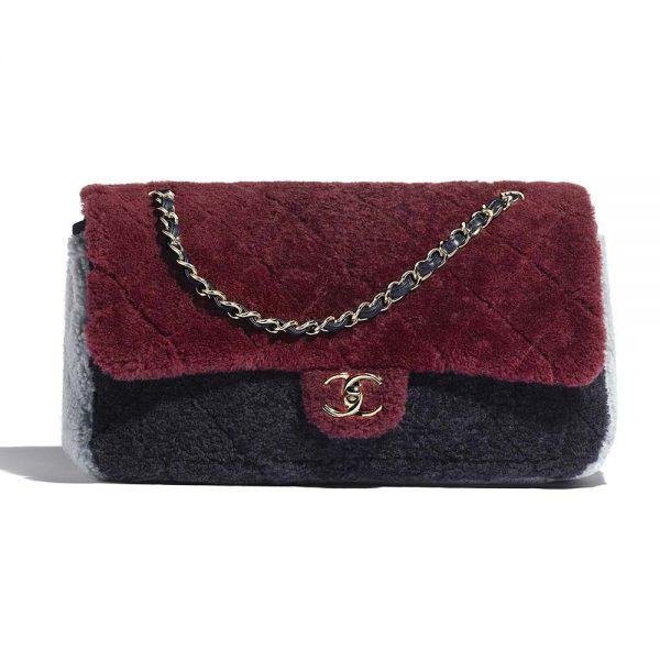 Chanel Women Flap Bag in Shearling Sheepskin Leather