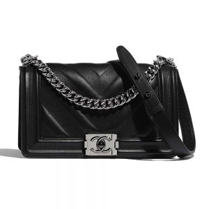 Chanel Women Flap Bag with Top Handle in Calfskin-Black