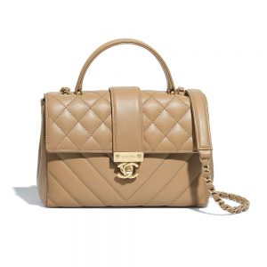 Chanel Women Flap Bag with Top Handle in Calfskin-Sandy
