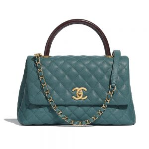 Chanel Women Flap Bag with Top Handle in Grained Calfskin Leather-Green