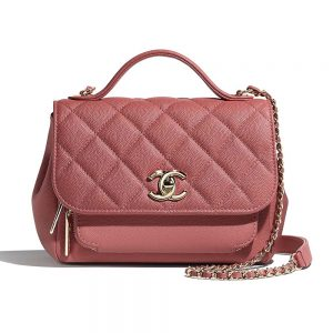 Chanel Women Flap Bag with Top Handle in Grained Calfskin Leather-Pink