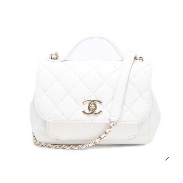 Chanel Women Flap Bag with Top Handle in Grained Calfskin Leather-White