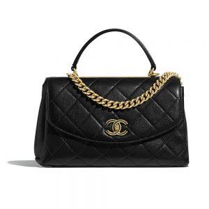 Chanel Women Flap Bag with Top Handle in Lambskin-Black