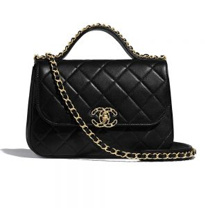 Chanel Women Flap Bag with Top Handle in Lambskin Leather