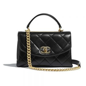 Chanel Women Flap Bag with Top Handle in Lambskin Leather-Black