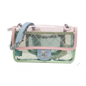 Chanel Women Green Patchwork Pink Transparent Ringer Chain Plastic Leather Bag