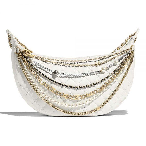 Chanel Women Hobo Handbag in Lambskin Leather
