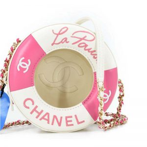 Chanel Women La Pausa Life Buoy Chain Bag in Calfskin Leather-Pink