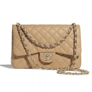 Chanel Women Large Classic Handbag in Grained Calfskin Leather-Sandy