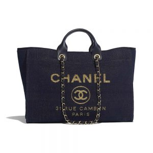 Chanel Women Large Shopping Bag in Mixed Fibers and Lurex Canvas-Navy