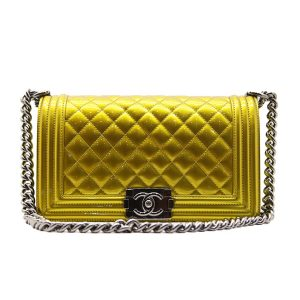 Chanel Women Leboy Flap Bag with Chain in Patent Calfskin Leather-Yellow