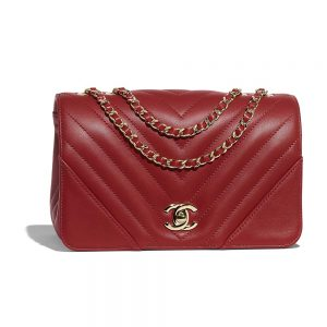 Chanel Women Mini Flap Bag in Calfskin Leather-Red