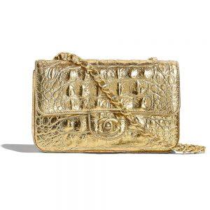 Chanel Women Mini Flap Bag in Metallic Crocodile Embossed Calfskin Leather-Gold