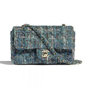 Chanel Women Mini Flap Bag in Tweeds & Fabrics-Blue