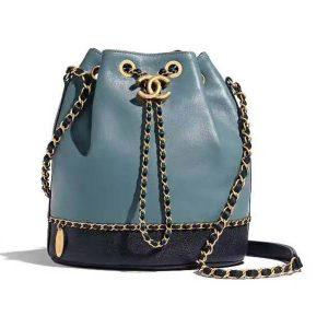 Chanel Women Ohanel Chain Bucket Bag in Calfskin Leather-Blue