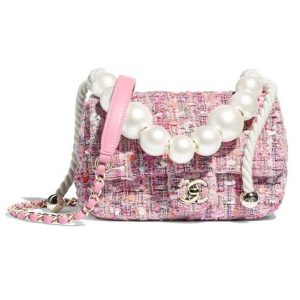 Chanel Women Shoulder Flap Bag Tweed Metal Chain Faux Pearl-Pink