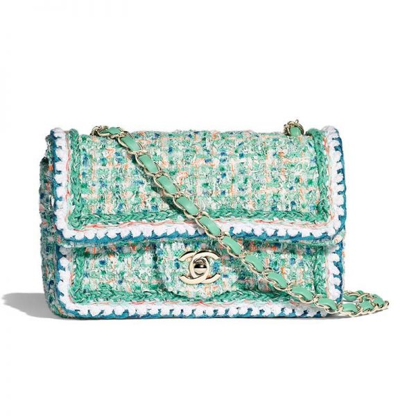 Chanel Women Shoulder Flap Bag Twill Fabric Material Chain-Green