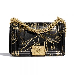 Chanel Women Small Boy Chanel Handbag in Crocodile Embossed Printed Leather