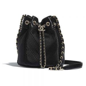 Chanel Women Drawstring Bag in Lambskin Leather-Black