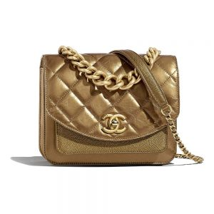Chanel Women Small Flap Bag in Smooth Calfskin Leather-Gold