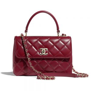 Chanel Women Small Flap Bag with Top Handle in Lambskin Leather-Maroon