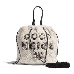 Chanel Women Small Shopping Bag in Shearling Sheepskin Leather-White