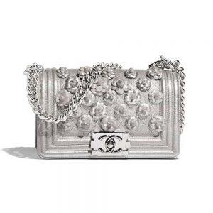Chanel Women Textured Metal Embroidered Flower Leather Shoulder Bag-Silver