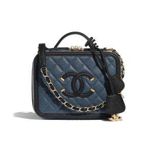 Chanel Women Vanity Case in Grained Calfskin Leather-Navy