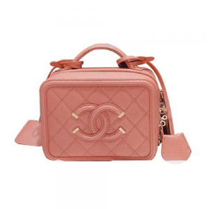 Chanel Women Vanity Case in Grained Calfskin Leather-Pink